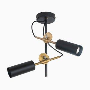 Lámpara de techo Stav Spot 2 de latón en negro de Johan Carpner para Konsthantverk