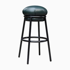Grasso Green Leather & Black Lacquered Metal Stool by Stephen Burks