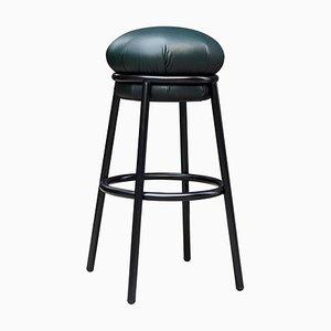 Grasso Hocker aus grünem Leder & schwarz lackiertem Metall von Stephen Burks