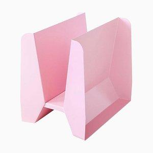 Adler Pink Metal Sculptural Magazine Rack by Adolfo Abejon