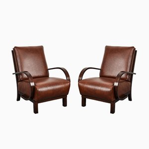 Art Deco Leather Armchairs by Jindrich Halabala for UP Závody, Set of 2