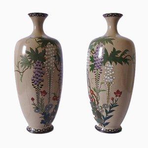 Japanische Meiji Cloisonne Vasen, 19. Jh., 2er Set