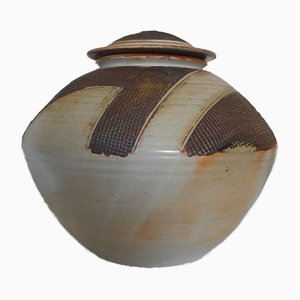 Large Stoneware Lidded Pot by Thiebaut Chagué, France, 1980s