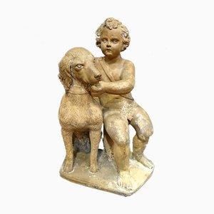 Französisches Terrakotta Kind mit Hund, 1700er