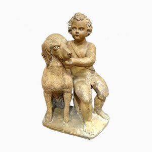 French Terracotta Child with Dog, 1700s