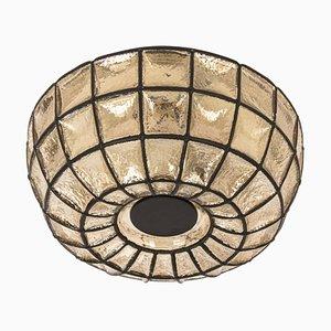 Deckenlampe aus Eisen & Klarglas von Limburg, Deutschland, 1960er