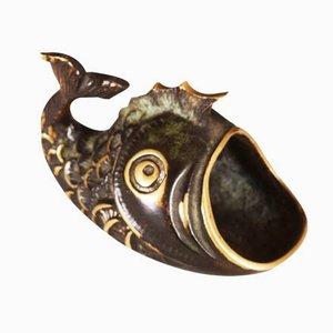 Cenicero en forma de pez de latón, años 50