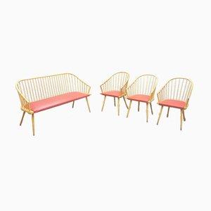 Mid-Century Bank & Stühle aus Buche, 1950er, 4er Set