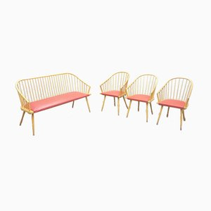 Mid-Century Beech Bench & Chairs, 1950s, Set of 4