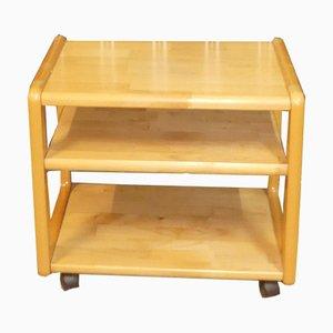 Beistelltisch aus Holz auf Rollen für Getränke oder Zeitschriften
