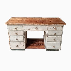 Vintage Workbench or Worktable in Cream Color