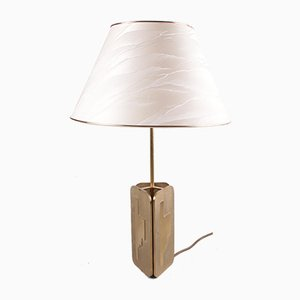 Hollywood Regency Brass Table Lamp with Shade, 1970s