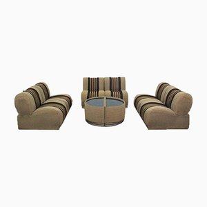 Modulare Gestreifte Sessel mit Tischen, 1970er, 7er Set
