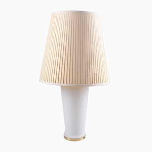 White Glass Table Lamp with a Pleated Fabric Shade, 1970s