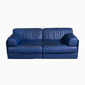 DS76 2-Seater Blue Leather Sofa by De Sede