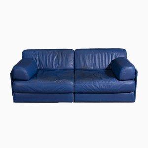 DS76 2-Sitzer Ledersofa in Blau von De Sede
