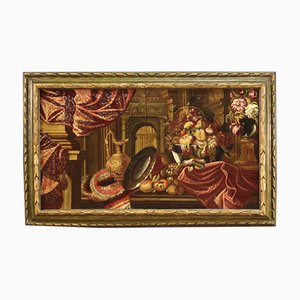 Cuadro de bodegón italiano antiguo, siglo XVII