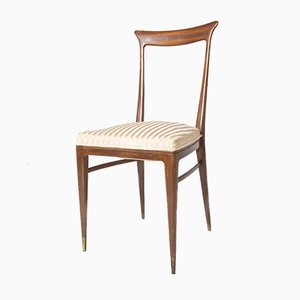 Italian Chairs in Wood and Satin Attributed to Ico Parisi, Set of 5