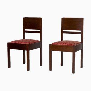 Eichenholz Beistellstühle von Lov Oosterbeek, 1930er, 2er Set