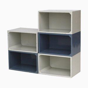 Moderne lackierte Sperrholz Aufbewahrungsboxen im Stil von Gerrit Rietveld, 1950er, 5er Set