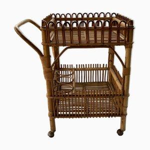 Bamboo Bar Cart Trolley, 1950s