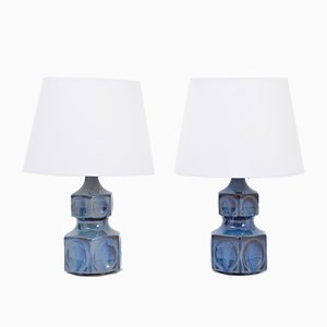 Blaue Mid-Century Dänische Tischlampen von Einar Johansen für Soholm, 2er Set