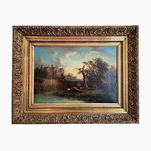 Peinture à l'Huile, Johannes Hilverdink, Weidescene Romantique