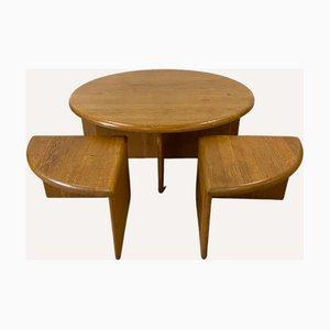 Danish or Scandinavian Pine Coffee Table Set with Nesting Seats, Set of 5