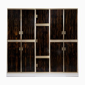 Wardrobe in Brass and Macassar by Luciano Frigerio, Italy, 1970s