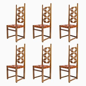 Mid-Century Ash and Leather Dining Chairs by Jordi Vilanova i Bosh, Spain, 1960s, Set of 6