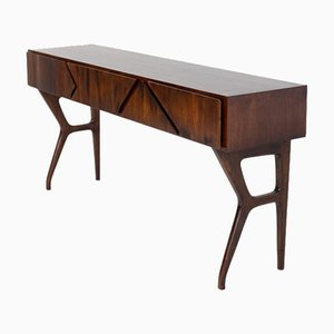 Italian Console Table in Walnut Wood Attributed to Melchiorre Bega