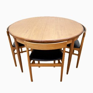 Round Mid-Century Teak Dining Table from G-Plan & 4 Teak Dining Chairs, 1960s, Set of 5