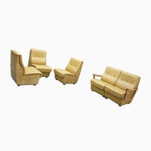 Mid-Century Leather Sofa Set, 1970s , Set of 5