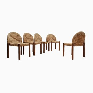 Vintage Straw Chairs by De Pas Durbino & Lomazzi, Set of 5