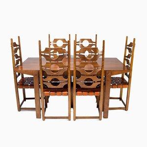 Mid-Century Ash and Leather Dining Room Set by Jordi Vilanova i Bosh, Spain, Set of 7