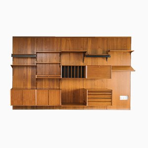 Unidad de pared modular grande de teca de Poul Cadovius para Cado, años 50