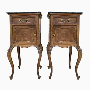 Louis XV Style Walnut Nightstands with Marble Top, 1930s, Set of 2