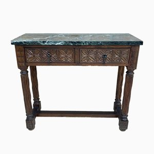 Early 20th Century Spanish Carved Walnut Console Table