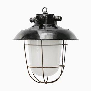 Vintage Industrial Black Enamel & Frosted Glass Pendant Light