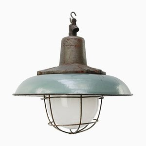Vintage Industrial Petrol Enamel, Cast Iron & Frosted Glass Pendant Lamp