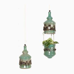 Dänische Vintage Keramik Hängelampen und Blumentopf, 1960er, 2er Set