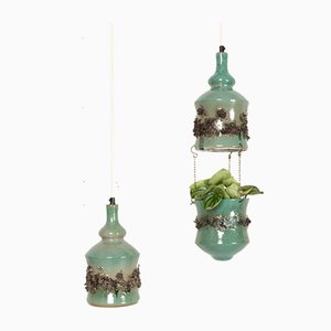 Vintage Danish Ceramic Pendants and Hanging Flower Pot, 1960s, Set of 2