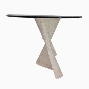 Italienischer Mid-Century Esstisch aus Travertin und Glas