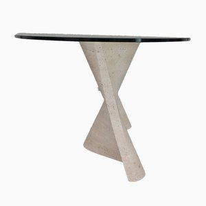 Mid-Century Italian Flowing Travertine and Glass Dining Table