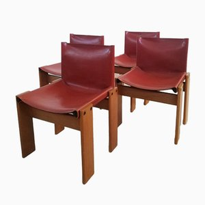 Monk Chairs in Leather and Wood by Tobia & Afra Scarpa, Set of 4