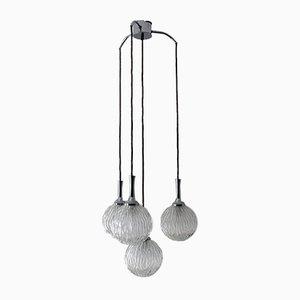 Mid-Century Kaskadenlampe aus Kristallglas & Chrom, 1960er