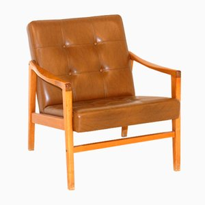 Armchair in Teak and Faux Leather, Sweden, 1960s