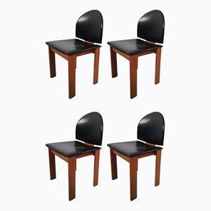 Italienische Stühle aus schwarzem Leder & Massivholz, 1970er, 4er Set