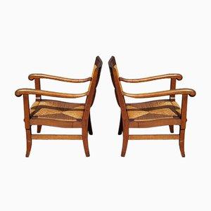 Französische Mid-Century Armlehnstühle, 2er Set