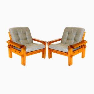 Skandinavische Sessel aus Kiefernholz von Yngve Ekström für Swedese, Schweden, 1970er, 2er Set